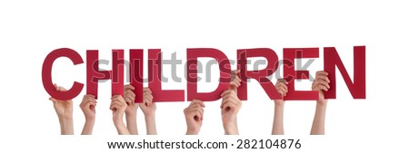 Many Caucasian People And Hands Holding Red Straight Letters Or Characters Building The Isolated English Word Children On White Background - stock photo