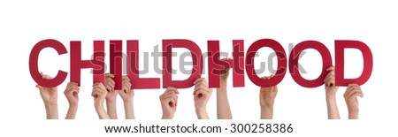 Many Caucasian People And Hands Holding Red Straight Letters Or Characters Building The Isolated English Word Childhood On White Background - stock photo