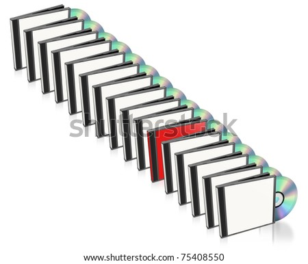 Many CD and Case, Only One Red.  Isolated on white. - stock photo
