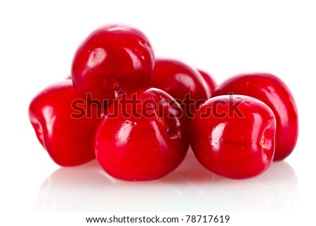 many cherries isolated on white background - stock photo