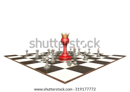 Many chess pieces and red pawn-king on a white background isolation.