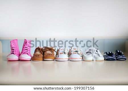 many children's shoes - stock photo