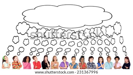 Many children thinking with a same thought isolate on a white background