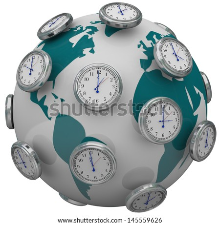 Many clocks around the world to illustrate international time zones and travel changes in hours - stock photo
