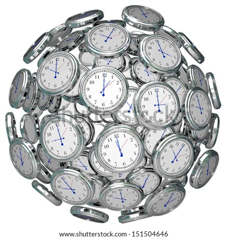 Many clocks in a ball or sphere to illustrate the keeping or passing of time in the past, present and future, or urgency or immediacy of doing something now before a deadline - stock photo