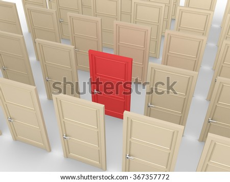 Many closed doors but one is of different color - stock photo