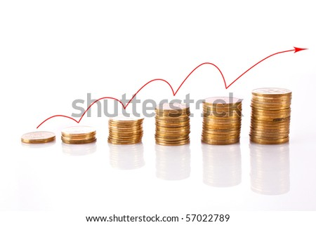 Many coins in column with red line isolated on white. Growth concept