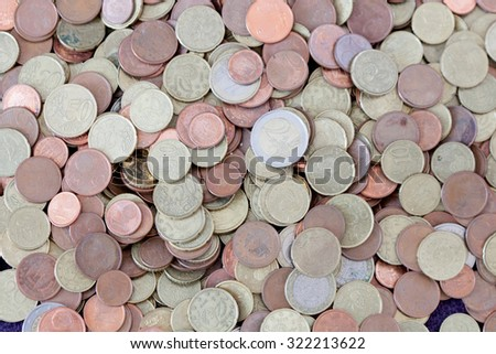 Many coins scattered euro. Cash Currency - stock photo