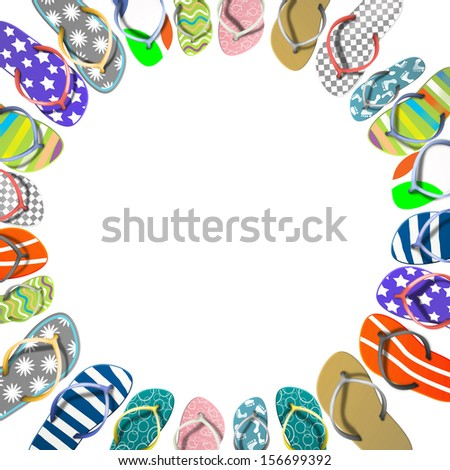 Many color flip flops - stock photo