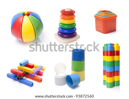 many color kids toys on white background - stock photo