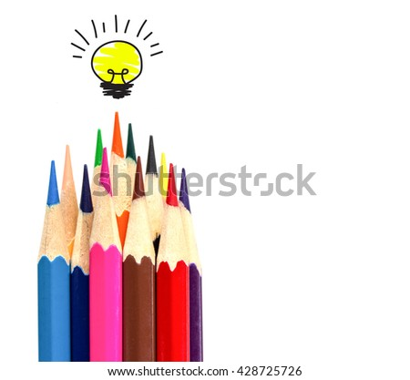 many color pencil and light bulb on white, idea and teamwork concept. - stock photo