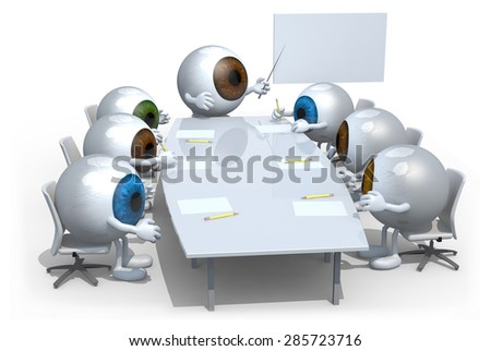 many colored eyeballs meeting around the table and follow their boss - stock photo