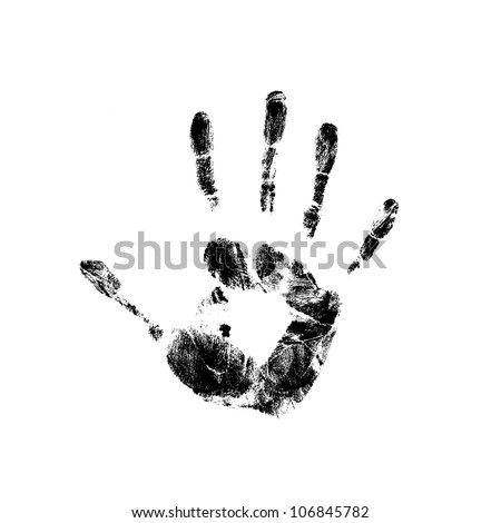 many colored handprints on a white background - stock photo