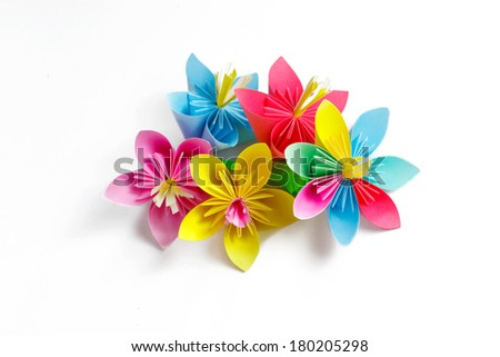 Many colored paper flowers flower varicolored stock photo royalty many colored paper flowers and flower with varicolored petals mightylinksfo