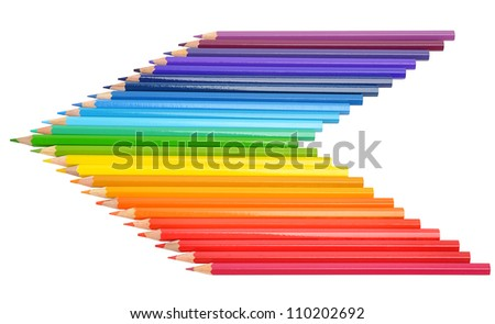 Many-colored pencils isolated on the white background - stock photo