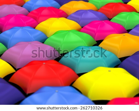many colored umbrellas on a white background