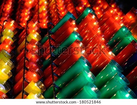 Many colored votive candles