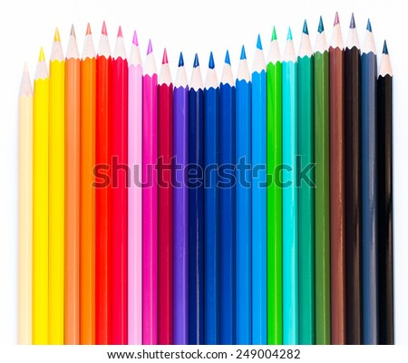 Many colored wooden pencils