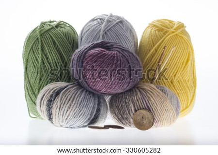 many colored yarns for needlework
