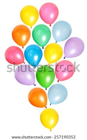 Many colorful balloons isolated on white background - stock photo