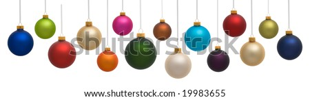Many colorful Christmas ornaments on white background - stock photo
