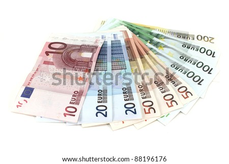 many colorful euro notes in a pile - stock photo