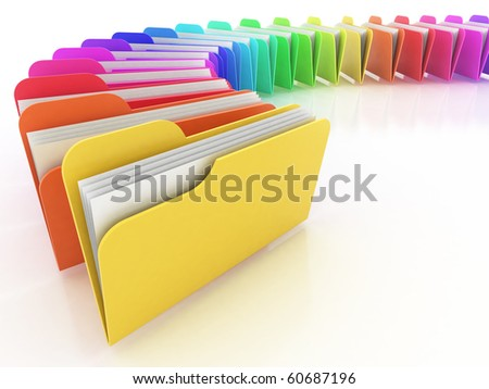 many colorful folders on the white background - stock photo