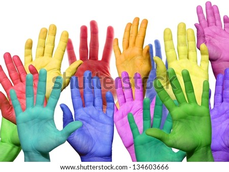 many colorful hands waving and symbolicind diversity - stock photo