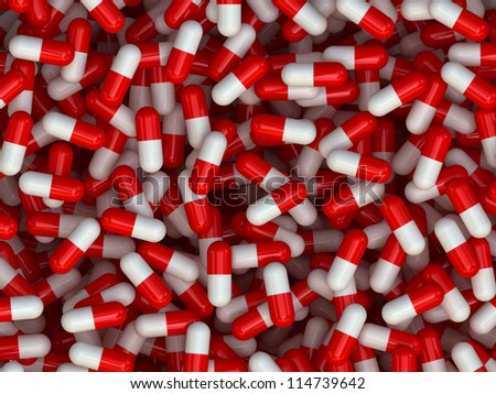 Many colorful medicines. Background or texture 3D Render - stock photo