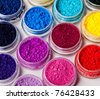 Many colorful, natural, mineral eyeshadows isolated on white - stock photo
