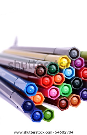 many colorful pens,background,closeup - stock photo