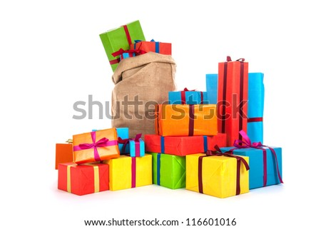 many colorful presents with luxury ribbons isolated over white background - stock photo