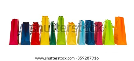 many colorful shopping bags - stock photo