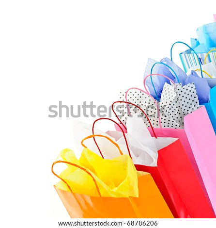 Many colorful shopping bags on white background - stock photo