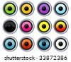 Many colorful speakers - Please see my another speakers of my collection - stock vector