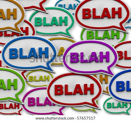Many colorful speech bubbles with the word Blah - stock photo