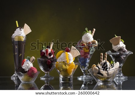many colorful sundae for the summer days - stock photo