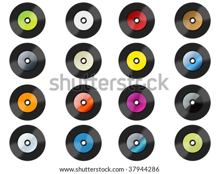 Many colorful vinyls  ---  Please see my another vinyls - stock photo