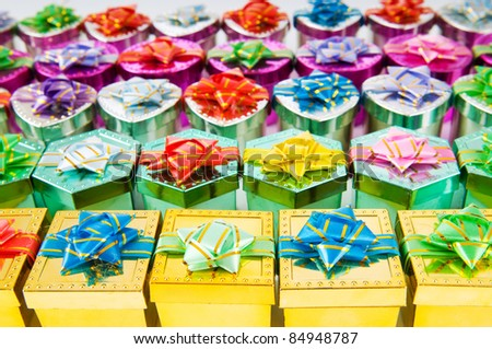 Many colourful gift boxes