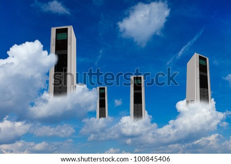 Many computer server in clouds as cloud computing concept - stock photo