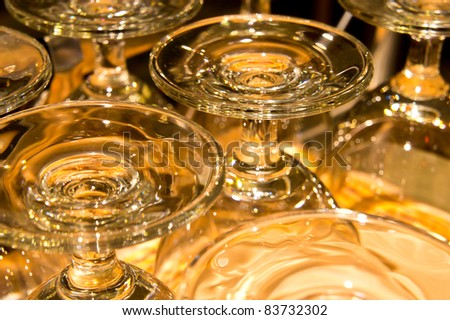 many crystal glasses in the night club, restaurant