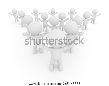 Many 3D Characters cheering with arms raised  - stock photo