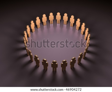 many 3d humans hand to hand in a circle - stock photo