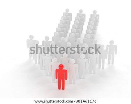 Many 3d people figure in arrow shape with the leader in front