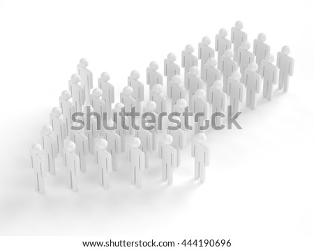 Many 3d people figure in arrow shape with the leader in front. 3d rendering.