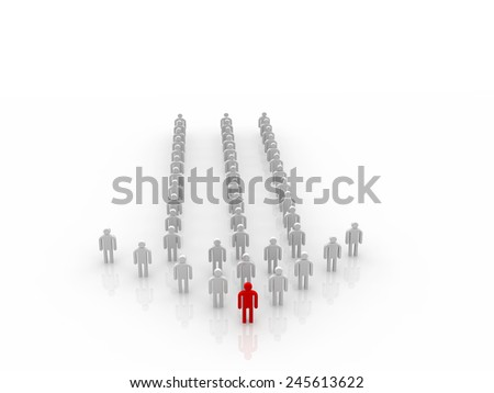 Many 3d people form an arrow with the leader in front - stock photo