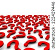 Many 3d red question marks on white background - stock vector