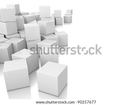 many 3d white cubes - stock photo