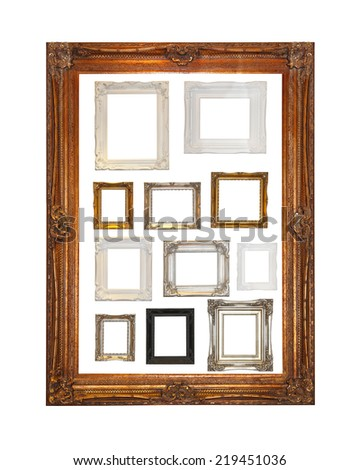 Many decorative frames in one big gold frame