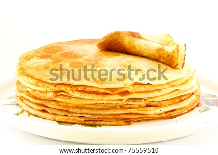 many delicious crepes isolated on a white background